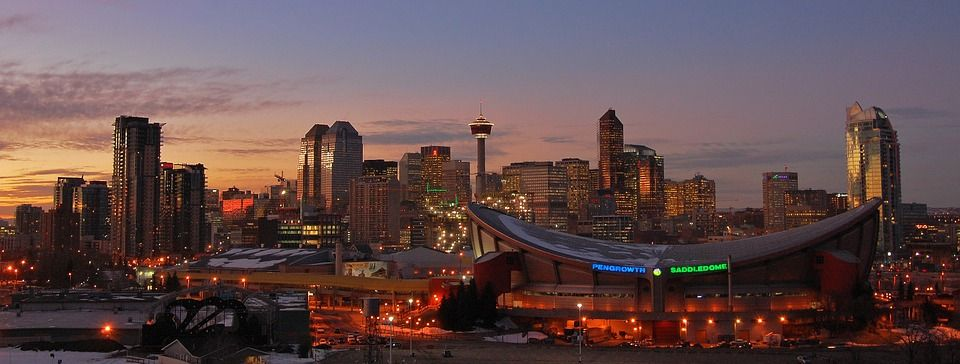 The skyline of Calgary city, Canada
